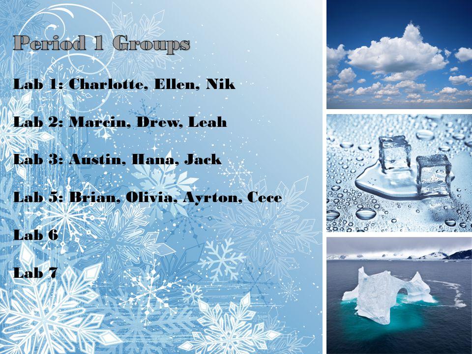 Period 1 Groups Lab 1: Charlotte, Ellen, Nik Lab 2: Marcin, Drew, Leah