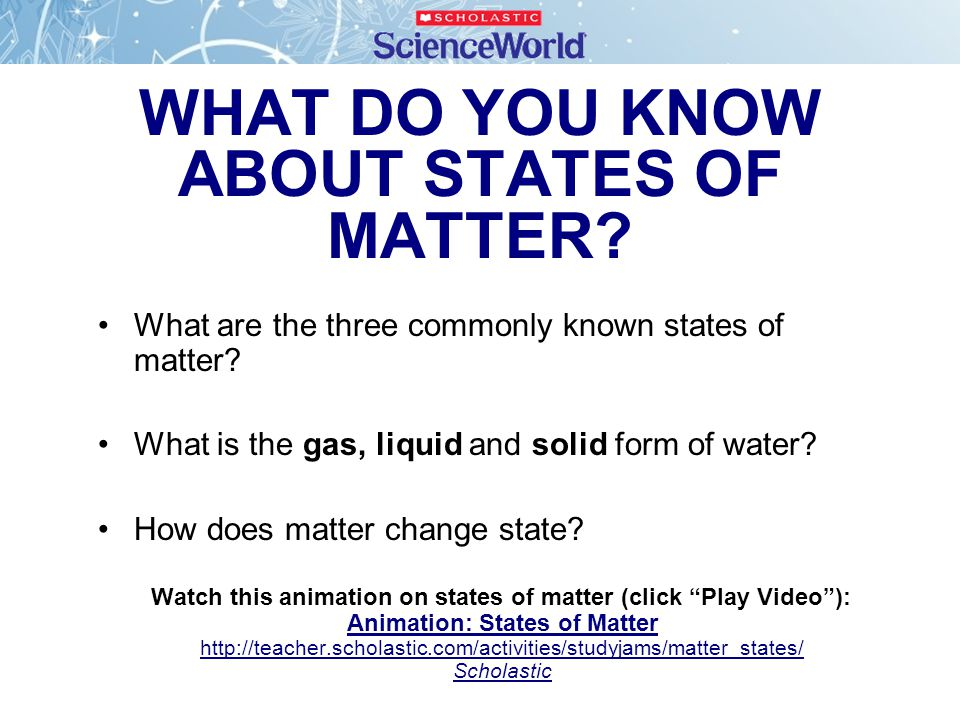 WHAT DO YOU KNOW ABOUT STATES OF MATTER