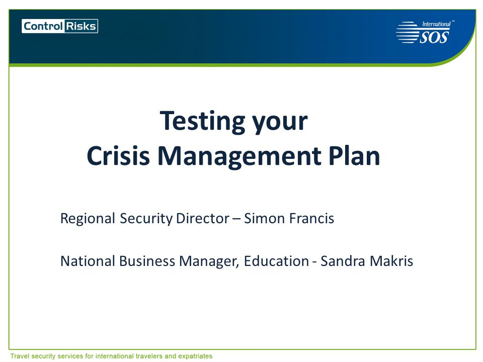 Testing your Crisis Management Plan