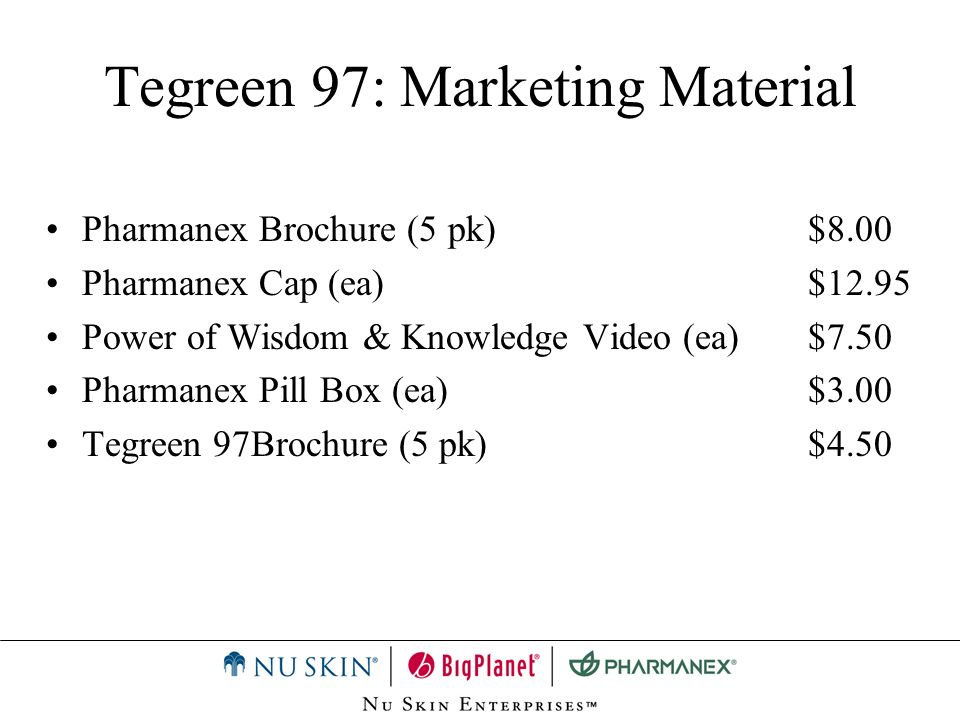 Tegreen 97: Marketing Material