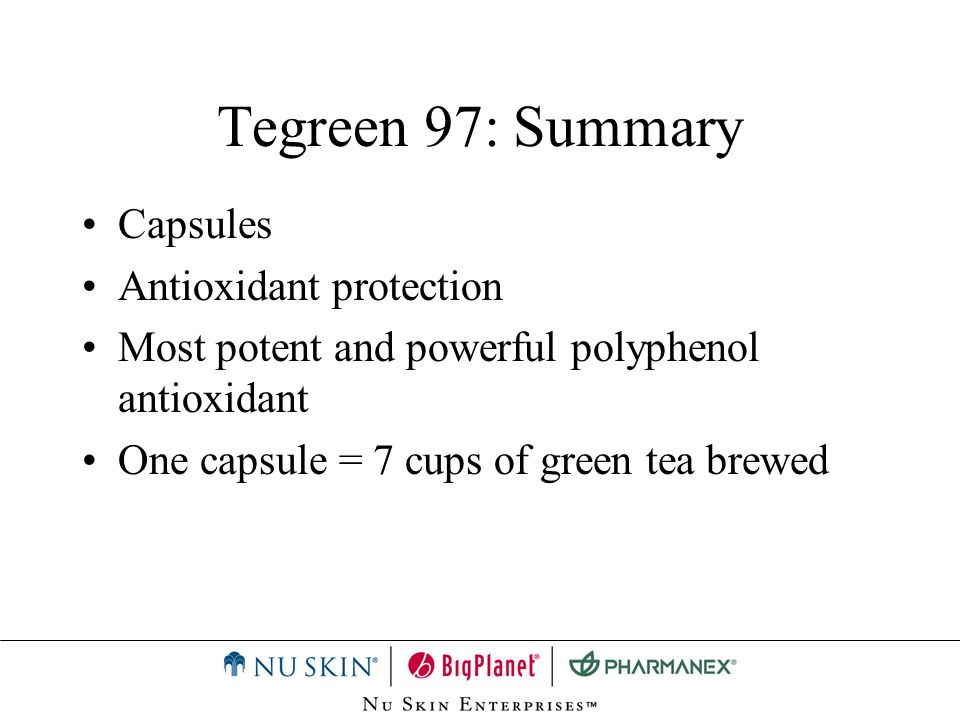 Tegreen 97: Summary Capsules Antioxidant protection