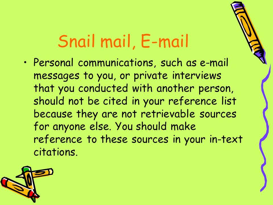 Snail mail, E-mail