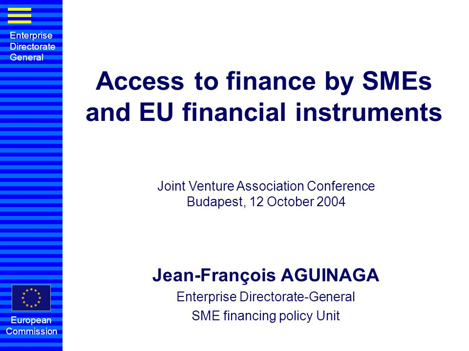 Access to finance by SMEs and EU financial instruments