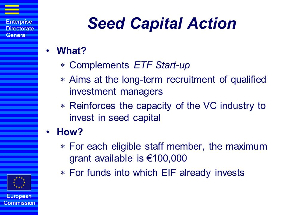 Seed Capital Action What Complements ETF Start-up