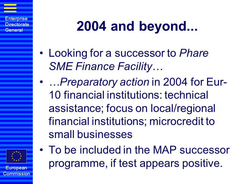 2004 and beyond... Looking for a successor to Phare SME Finance Facility…