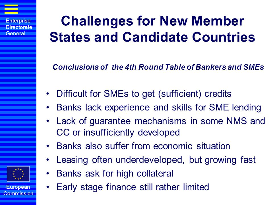 Challenges for New Member States and Candidate Countries