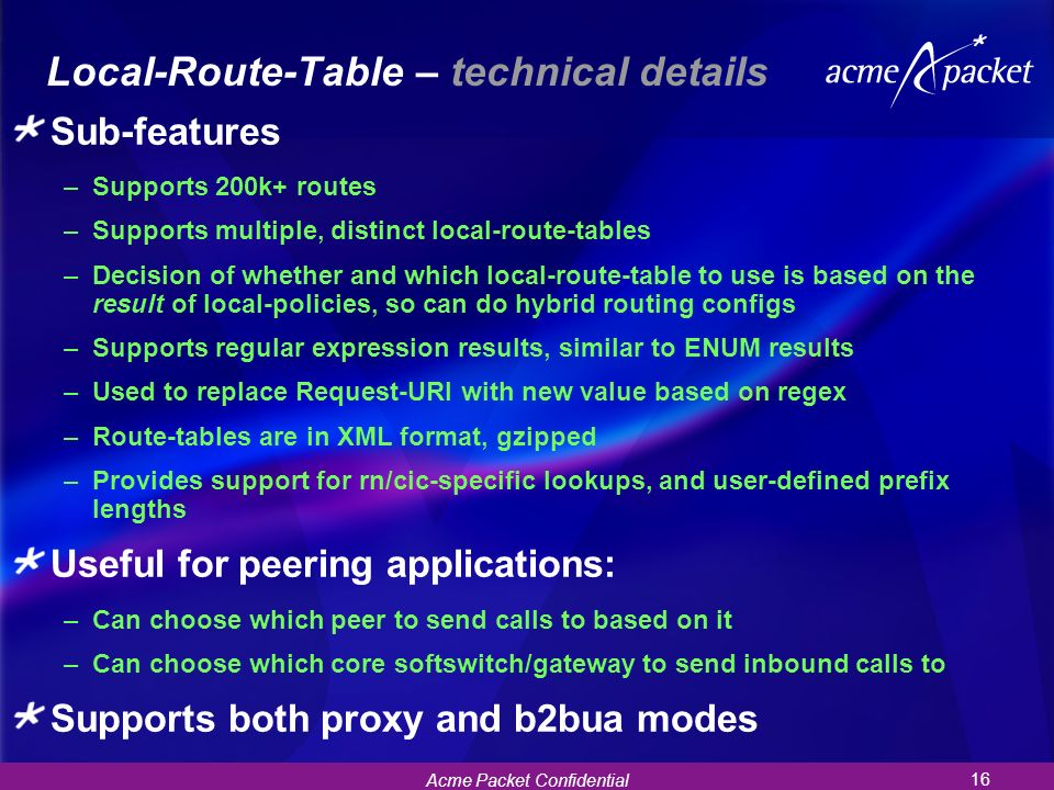 Local-Route-Table – technical details