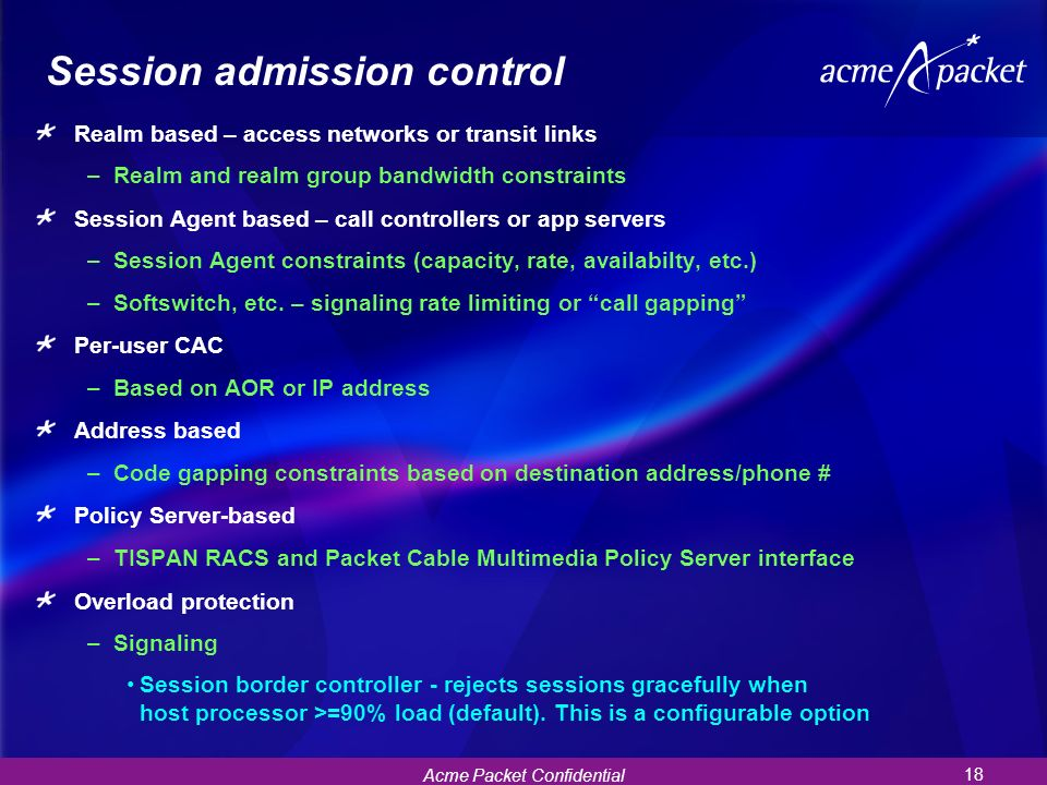 Session admission control