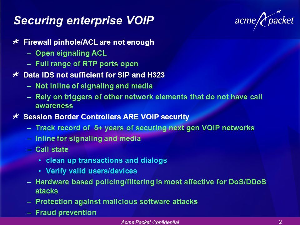 Securing enterprise VOIP