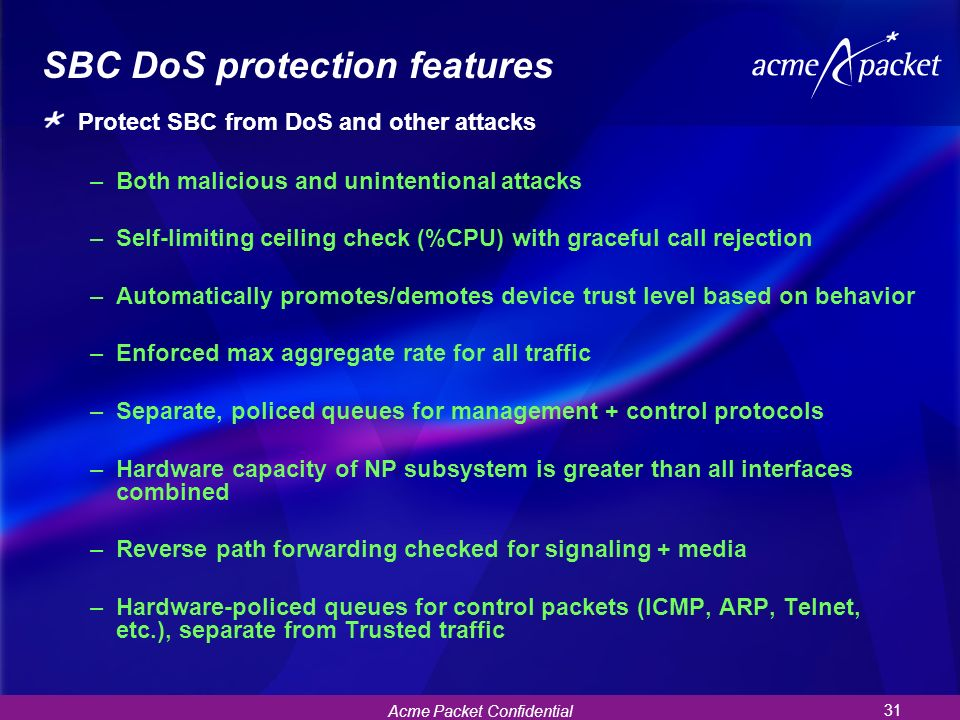 SBC DoS protection features