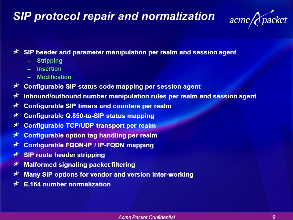 SIP protocol repair and normalization