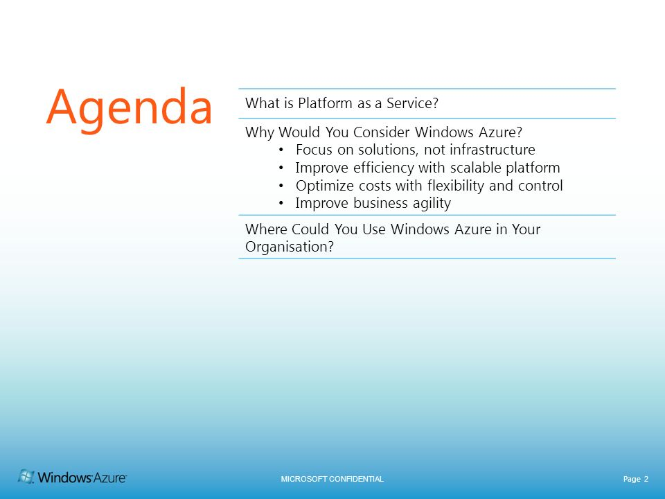 Agenda What is Platform as a Service