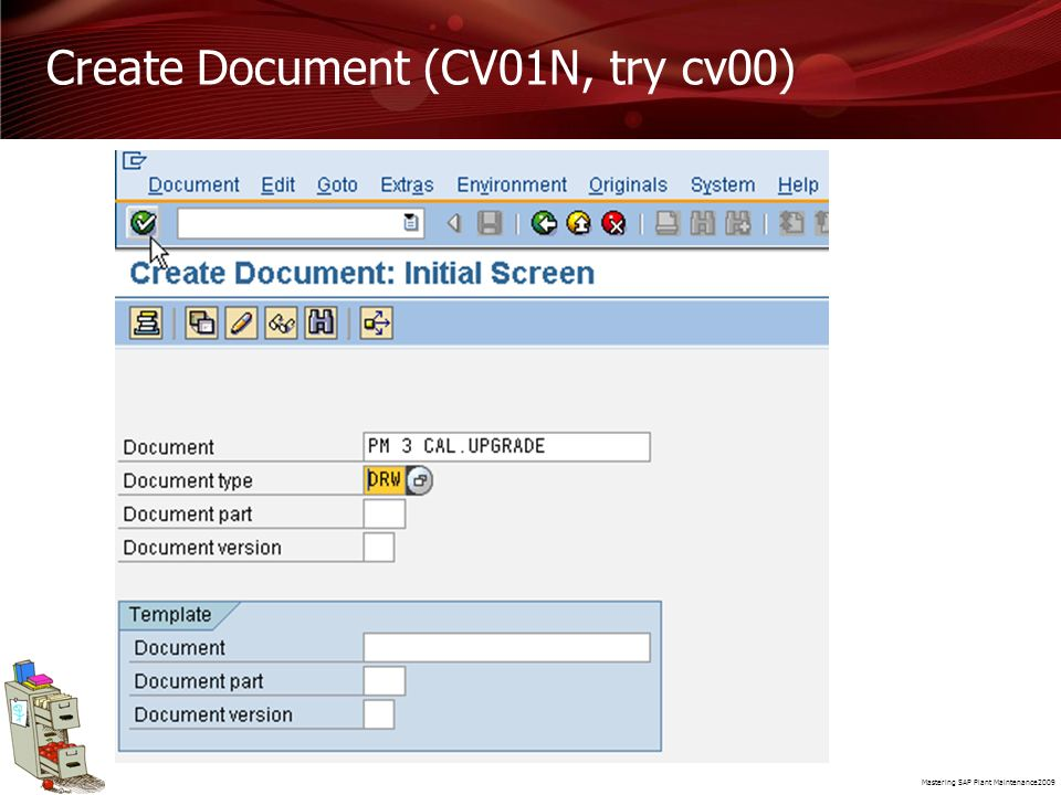 Create Document (CV01N, try cv00)