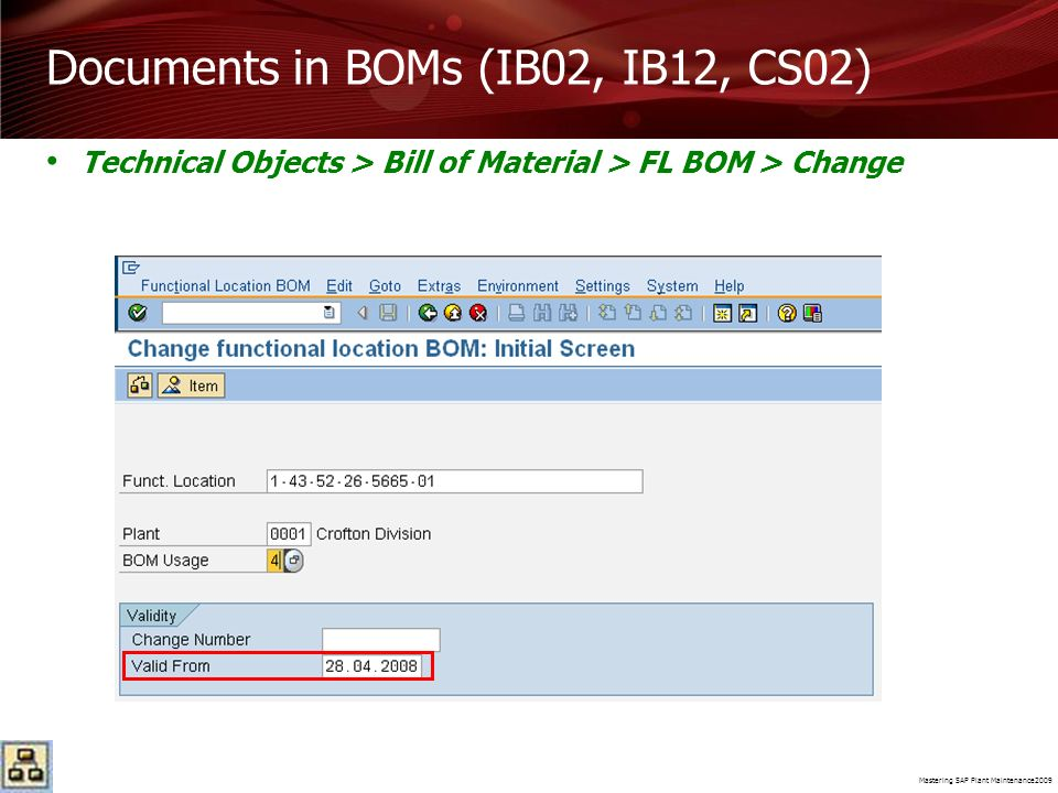 Documents in BOMs (IB02, IB12, CS02)