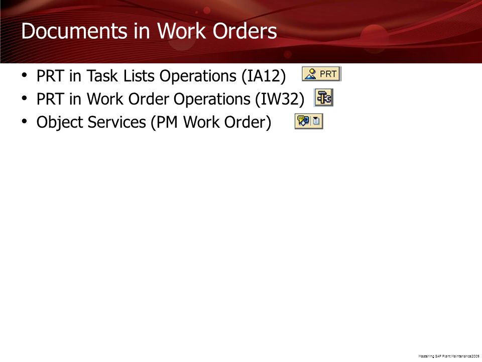 Documents in Work Orders