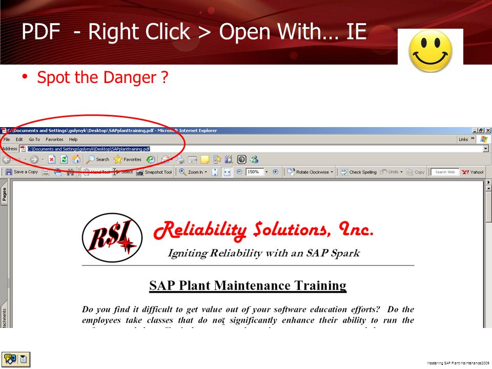 PDF - Right Click > Open With… IE
