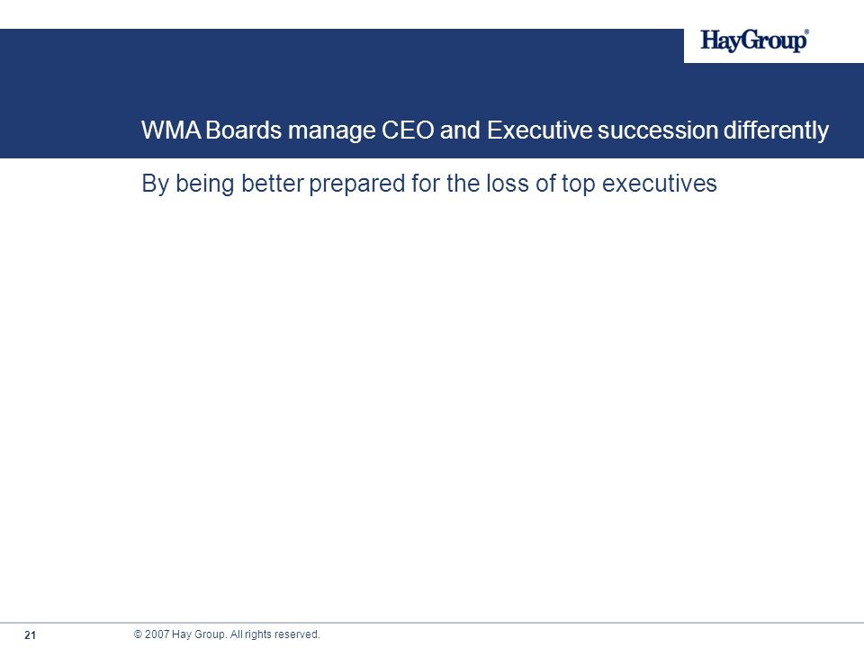WMA Boards manage CEO and Executive succession differently