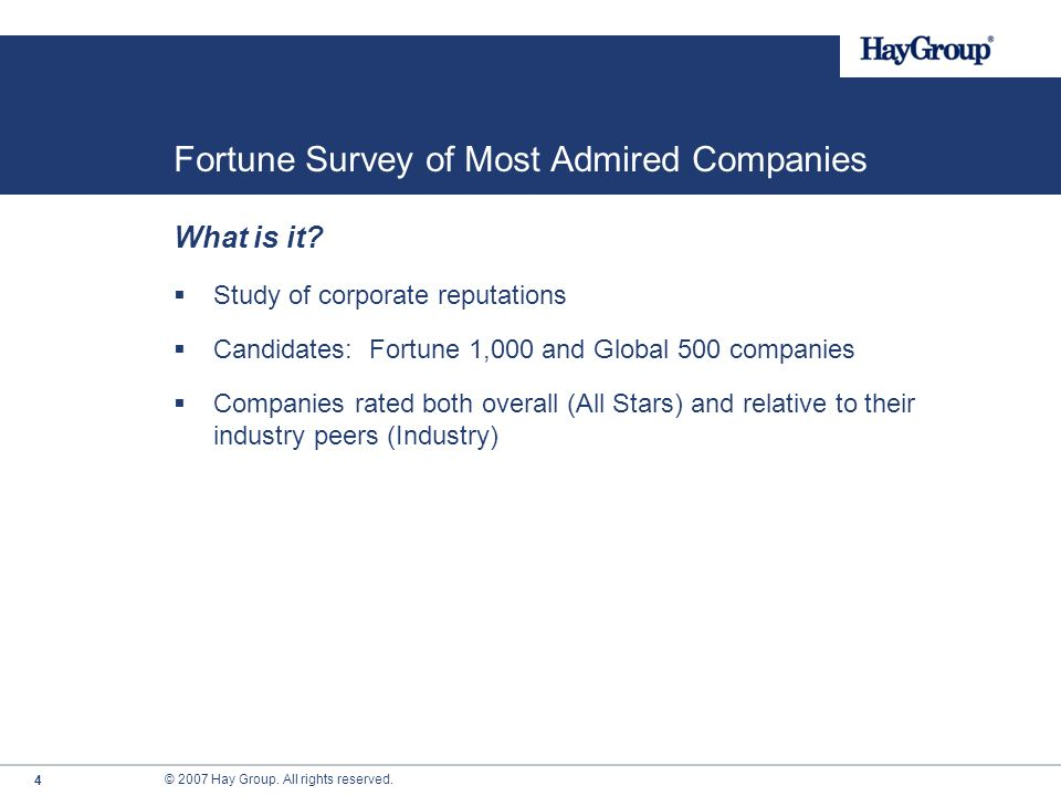 Fortune Survey of Most Admired Companies