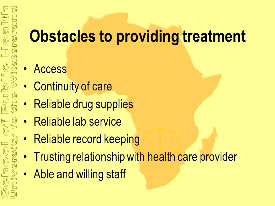 Obstacles to providing treatment