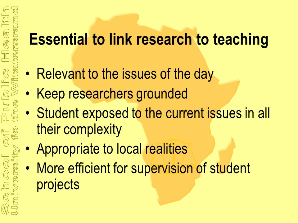 Essential to link research to teaching