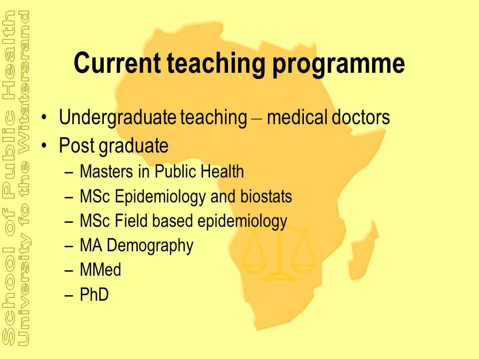Current teaching programme