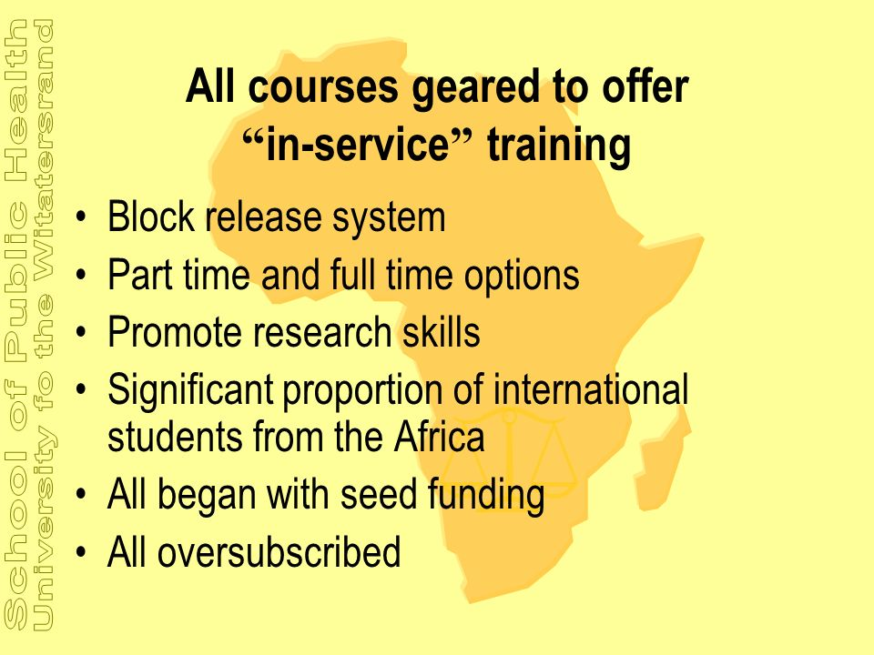 All courses geared to offer in-service training
