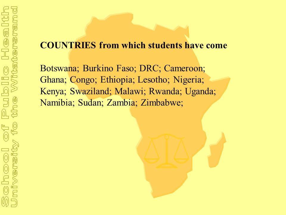COUNTRIES from which students have come