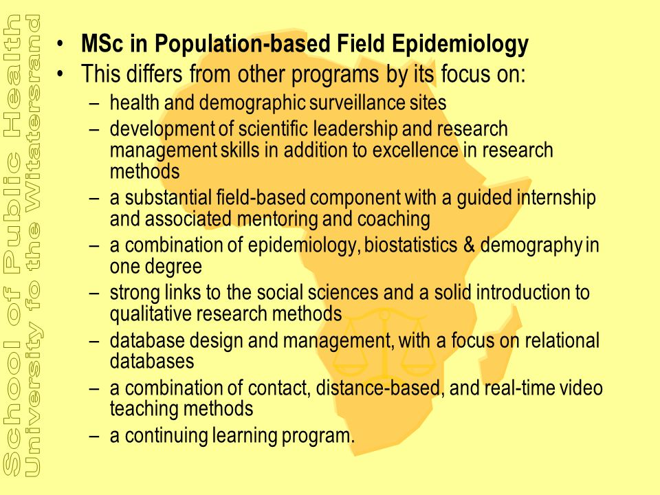 MSc in Population-based Field Epidemiology
