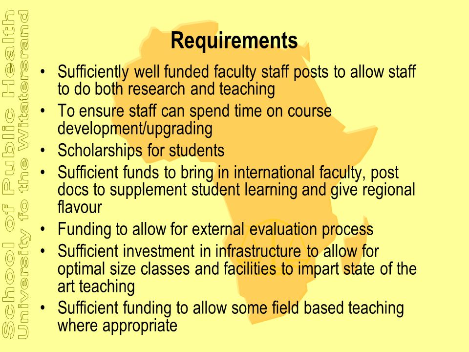 Requirements Sufficiently well funded faculty staff posts to allow staff to do both research and teaching.