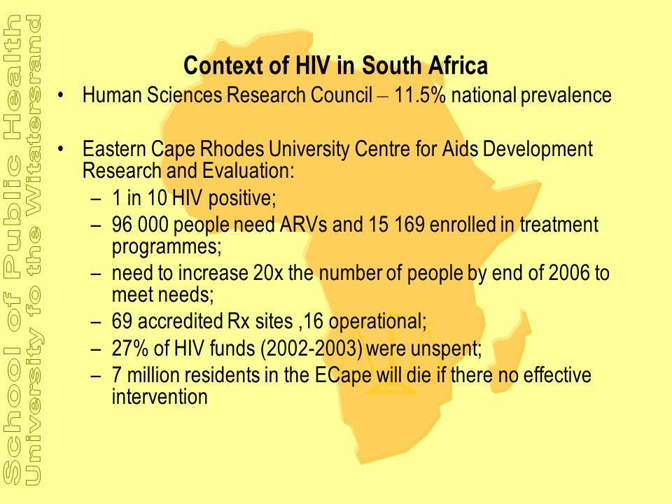 Context of HIV in South Africa