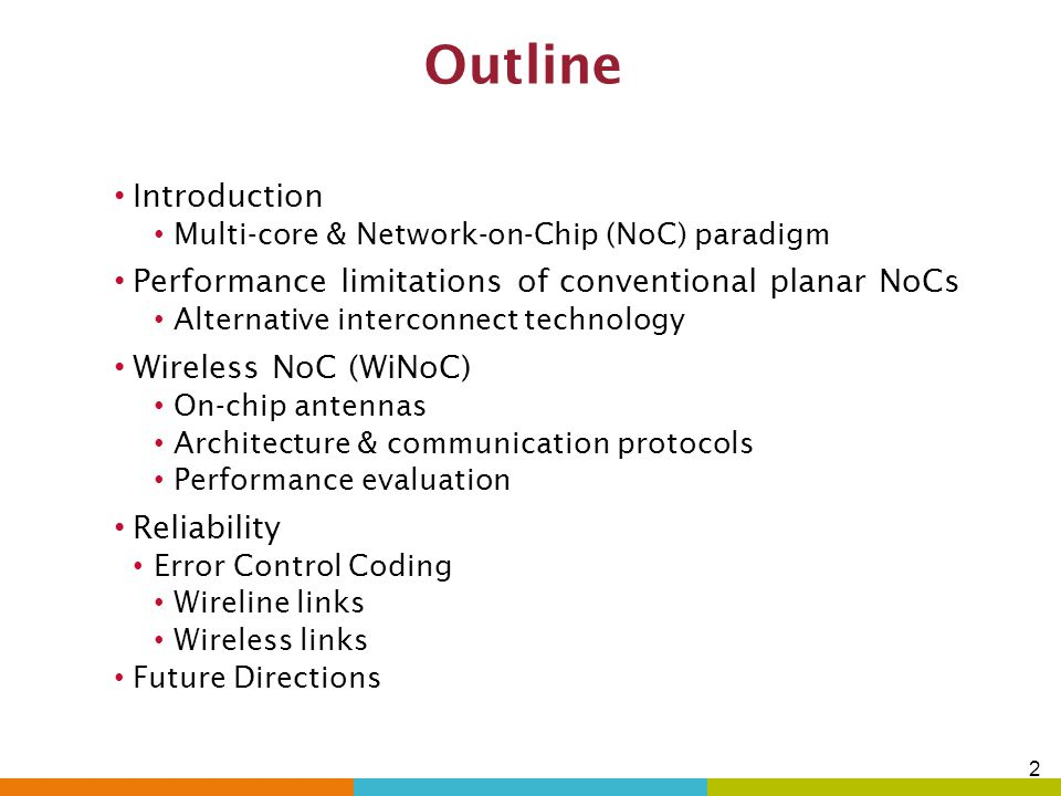 4/7/2017 Outline. Introduction. Multi-core & Network-on-Chip (NoC) paradigm. Performance limitations of conventional planar NoCs.