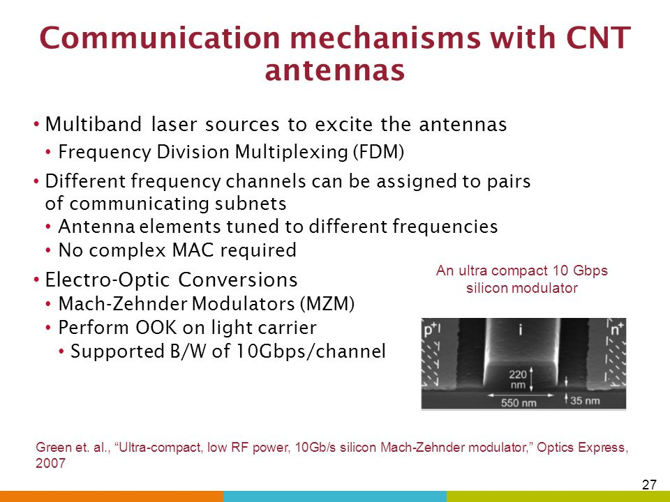 Communication mechanisms with CNT antennas