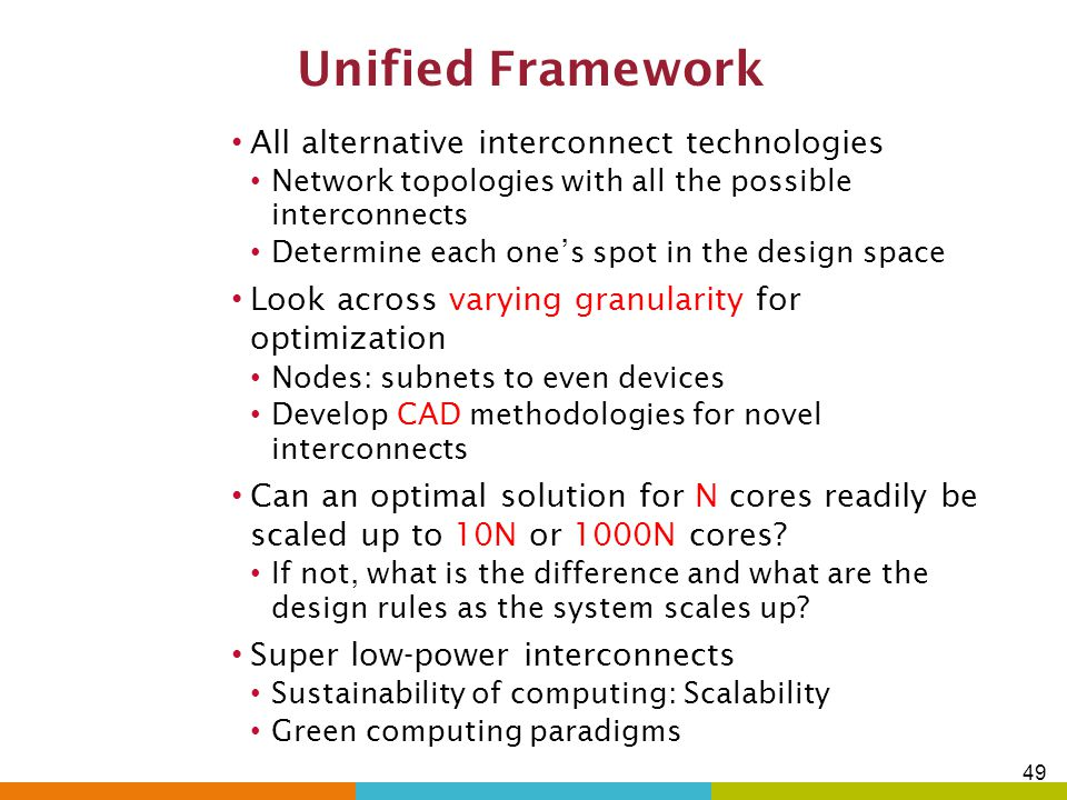 Unified Framework All alternative interconnect technologies