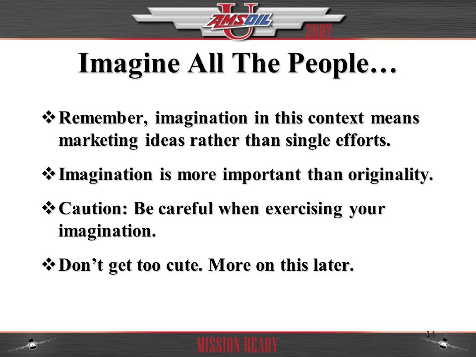 Imagine All The People…