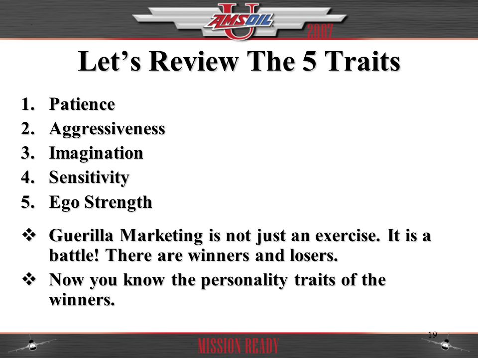 Let's Review The 5 Traits