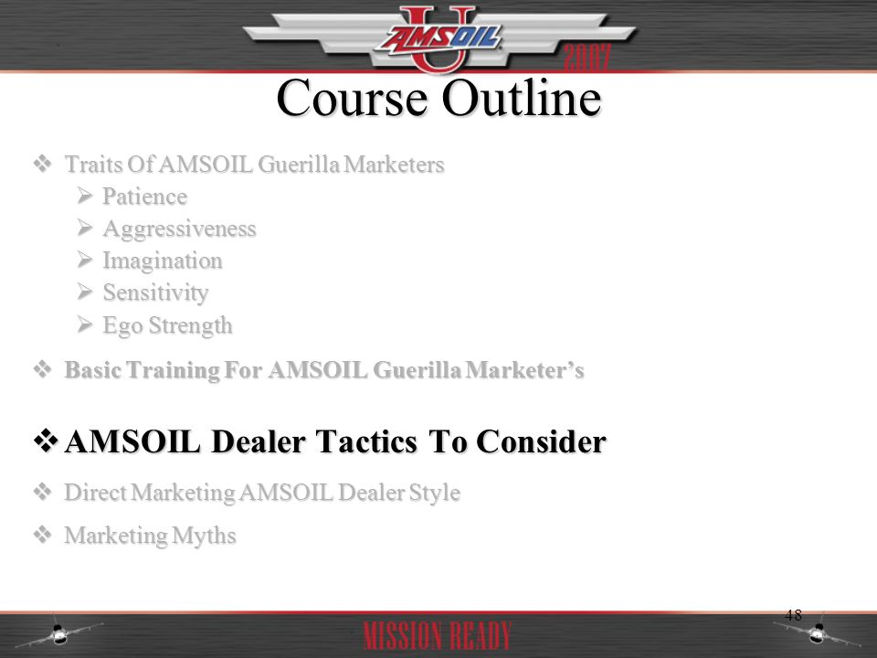 Course Outline AMSOIL Dealer Tactics To Consider