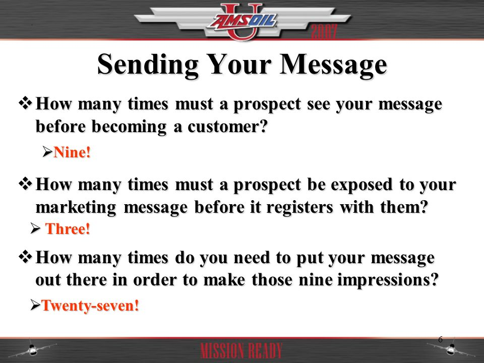 Sending Your Message How many times must a prospect see your message before becoming a customer