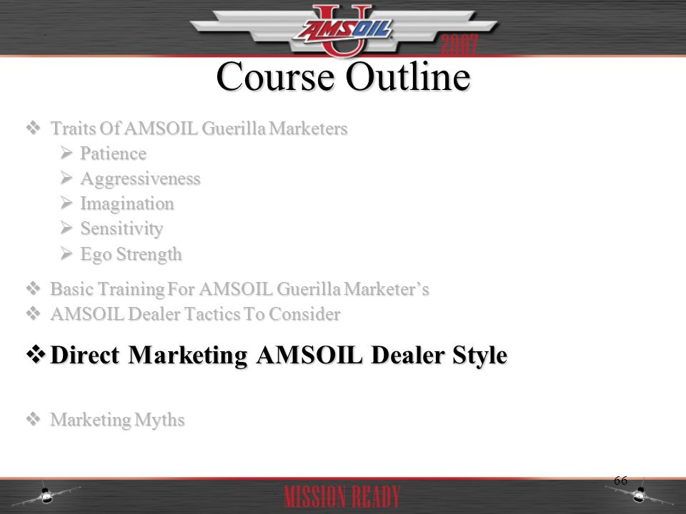 Course Outline Direct Marketing AMSOIL Dealer Style