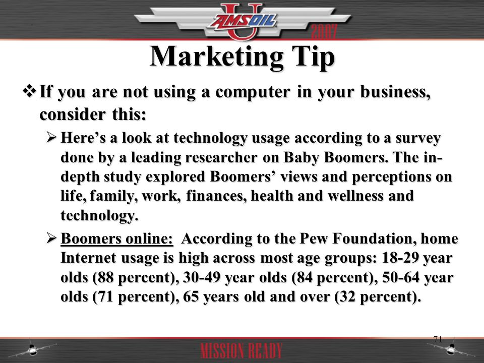 Marketing Tip If you are not using a computer in your business, consider this:
