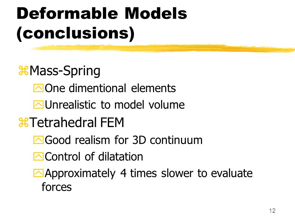 Deformable Models (conclusions)
