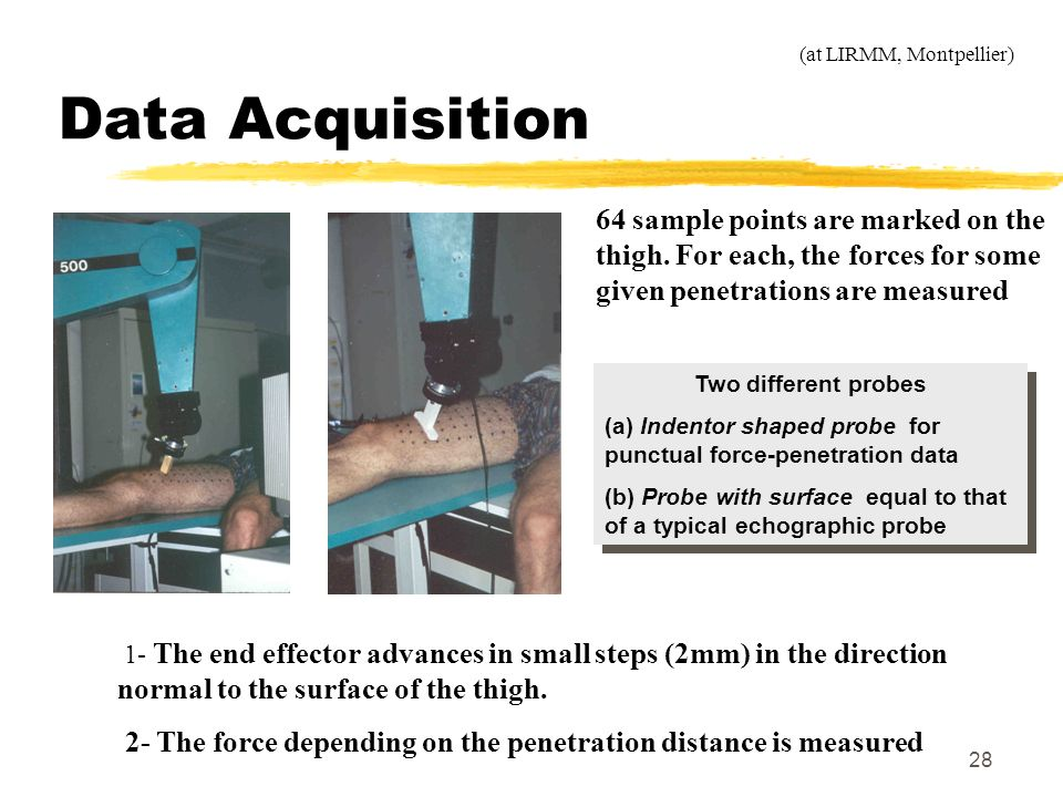 Data Acquisition (at LIRMM, Montpellier) 64 sample points are marked on the thigh. For each, the forces for some given penetrations are measured.