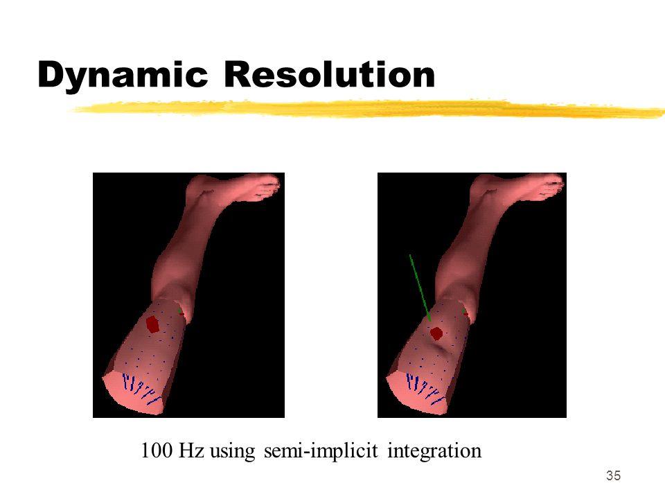 Dynamic Resolution 100 Hz using semi-implicit integration