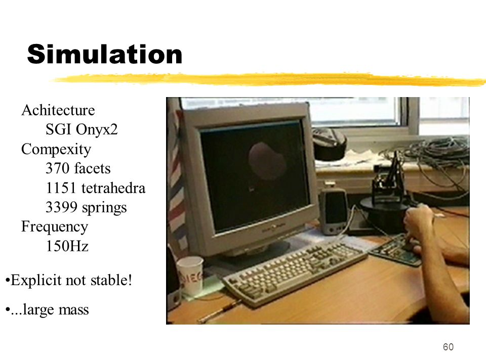 Simulation Achitecture SGI Onyx2 Compexity 370 facets 1151 tetrahedra