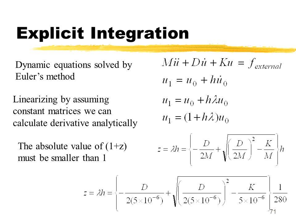 Explicit Integration Dynamic equations solved by Euler's method