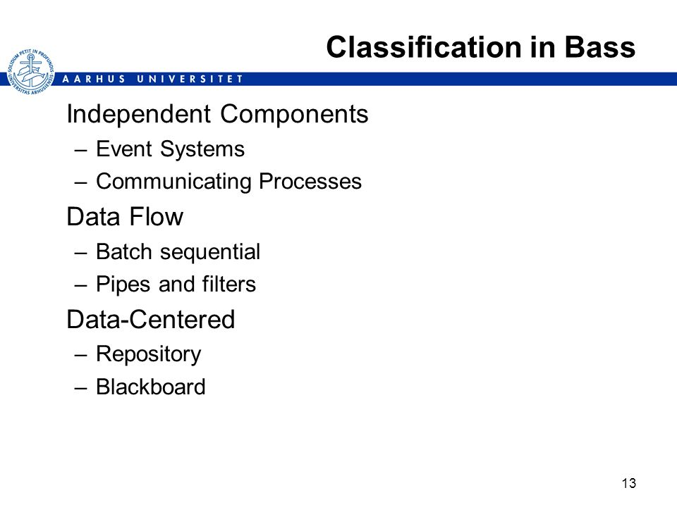 Classification in Bass