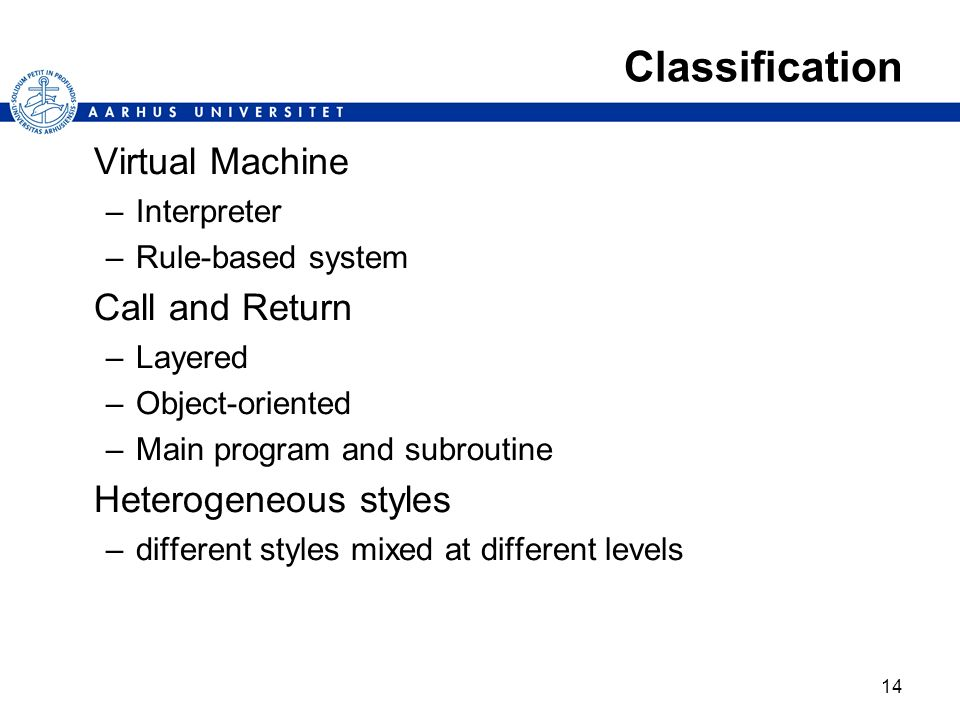 Classification Virtual Machine Call and Return Heterogeneous styles