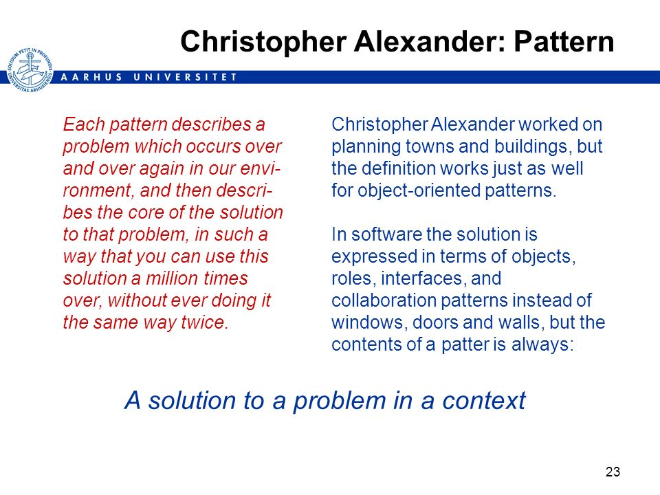 Christopher Alexander: Pattern