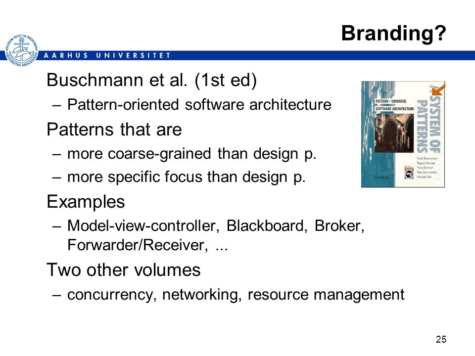Branding Buschmann et al. (1st ed) Patterns that are Examples