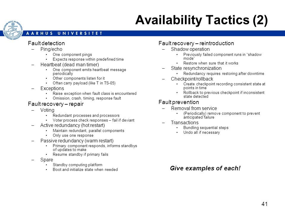 Availability Tactics (2)