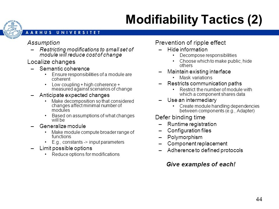 Modifiability Tactics (2)